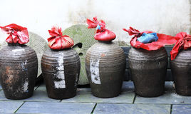 Ancient wine cistern. Closeup of chinese ancient wine cisterns Royalty Free Stock Photos