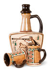 Ancient Wine Jug And Ceramic Mugs Royalty Free Stock Photos