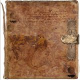 Ancient wisdom vintage book grunge background Stock Photos