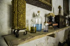 Ancient witchcraft objects. Ancient witchcraft items, witches detail and spells stock photo