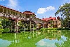 The ancient wood bridge Sanam Chandra Palace Stock Photos