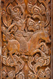 Ancient wood carvings, Ramayana Royalty Free Stock Photography