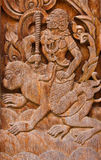 Ancient wood carvings, Ramayana Royalty Free Stock Image