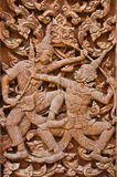 Ancient wood carvings, Ramayana Royalty Free Stock Images
