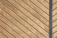 Ancient wood with metal plank Stock Photo
