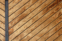 Ancient wood with metal plank Royalty Free Stock Photos
