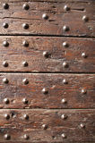 Ancient wood with rivets Royalty Free Stock Photos
