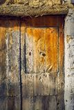 Ancient wood texture on a brown door stock photo