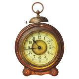 Ancient wooden alarm clock with bell Stock Photos
