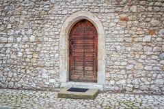 Ancient wooden arcade  door Royalty Free Stock Photography