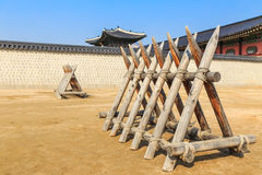 Ancient wooden barrier. Around Korea palace Stock Images