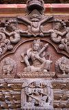 wooden bas-relief at Palace on Durbar Square in Patan, Nepal Royalty Free Stock Image