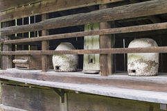 Ancient wooden beehives Royalty Free Stock Images