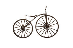 Ancient wooden bicycle on white background Royalty Free Stock Photography