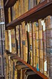 Ancient Wooden Book Shelves With Old Library Books Dusty Bookshelf With Rare Books Collection In Bookcase Retro Library Stock Photos