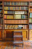 Ancient Wooden Book Shelves With Old Library Books Dusty Bookshelf With Rare Books Collection In Bookcase Retro Library Royalty Free Stock Image