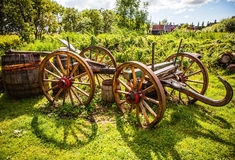 Ancient wooden cart in Dutch village Stock Photo