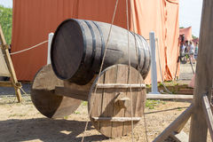 Ancient wooden cart with wooden barrel Royalty Free Stock Images