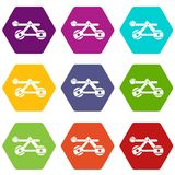 Ancient wooden catapult icon set color hexahedron Royalty Free Stock Photo