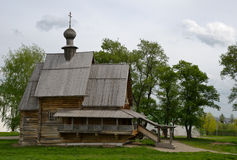 Ancient wooden christian church on a hill Royalty Free Stock Images