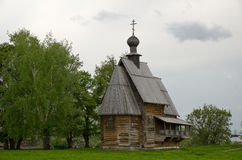 Ancient wooden christian church on a hill Royalty Free Stock Photography