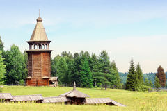 Ancient wooden church. Malye Karely, Russian Federation Royalty Free Stock Photography