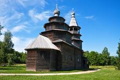 Ancient wooden church. Wooden church at Vitoslavitsy village, Novgotod region, Russia Royalty Free Stock Photo