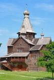 Ancient wooden church. Museum of Wooden architecture Vitoslavlitsy in Novgorod. Ancient wooden church Royalty Free Stock Photography