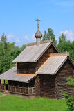 Ancient wooden church. Museum of Wooden architecture Vitoslavlitsy in Novgorod. Ancient wooden church Stock Image