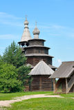 Ancient wooden church. Museum of Wooden architecture Vitoslavlitsy in Novgorod. Ancient wooden church Royalty Free Stock Images