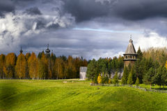 Ancient wooden church. Malye Karely, Russian Federation Royalty Free Stock Image