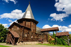 An ancient wooden church in Moscow, Russia. An ancient wooden church near the cultural centre of Izmailovo in Moscow royalty free stock image