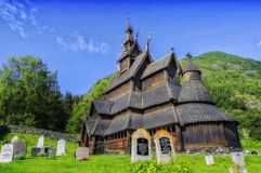 Old wooden church in Norway stock photo