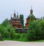 Ancient wooden church in open air museum, Kiev, Ukraine Stock Photo