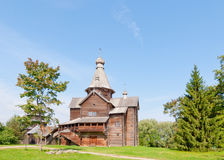 Ancient wooden church in  Russian village. Stock Photo