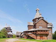 Ancient wooden church in  Russian village. Stock Image
