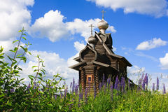 Ancient wooden Church of Transfiguration Stock Photos
