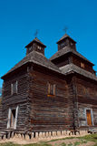 Ancient wooden church in Ukrainian village. Royalty Free Stock Photography