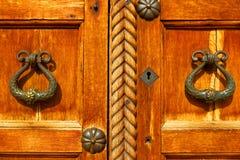 Ancient wooden door. Stock Photo