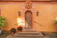 House entrance with wooden door Stock Photo