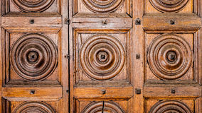 Ancient wooden door in old church, Royalty Free Stock Image