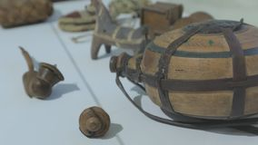 The Wooden Flask. The ancient wooden flask for wine water stock video