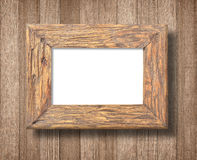Ancient wooden frame on white background Royalty Free Stock Photo