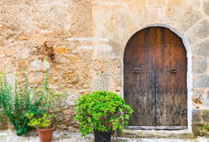 Ancient wooden front door Stock Photography