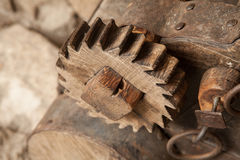 Ancient wooden gear Royalty Free Stock Photos