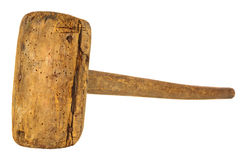Ancient wooden hammer with woodworm isolated on white Stock Photo