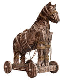 Ancient wooden horse. 3D render of an ancient wooden horse Stock Photo