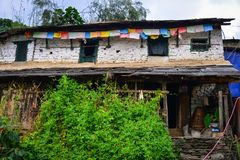 Mountain village in Grandruk, Nepal royalty free stock photo