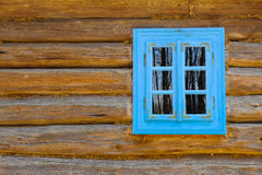 Ancient wooden house window, museum. Ancient wooden house window, open air museum in  Poland Stock Photos