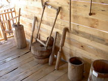 Ancient wooden household items Stock Photo